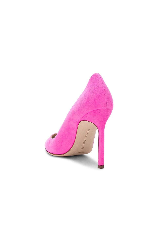 Image 3 of Manolo Blahnik Suede BB 105 Heels in Neon Pink Suede