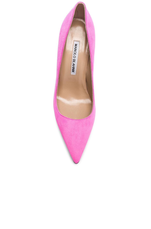 Image 4 of Manolo Blahnik Suede BB 105 Heels in Neon Pink Suede