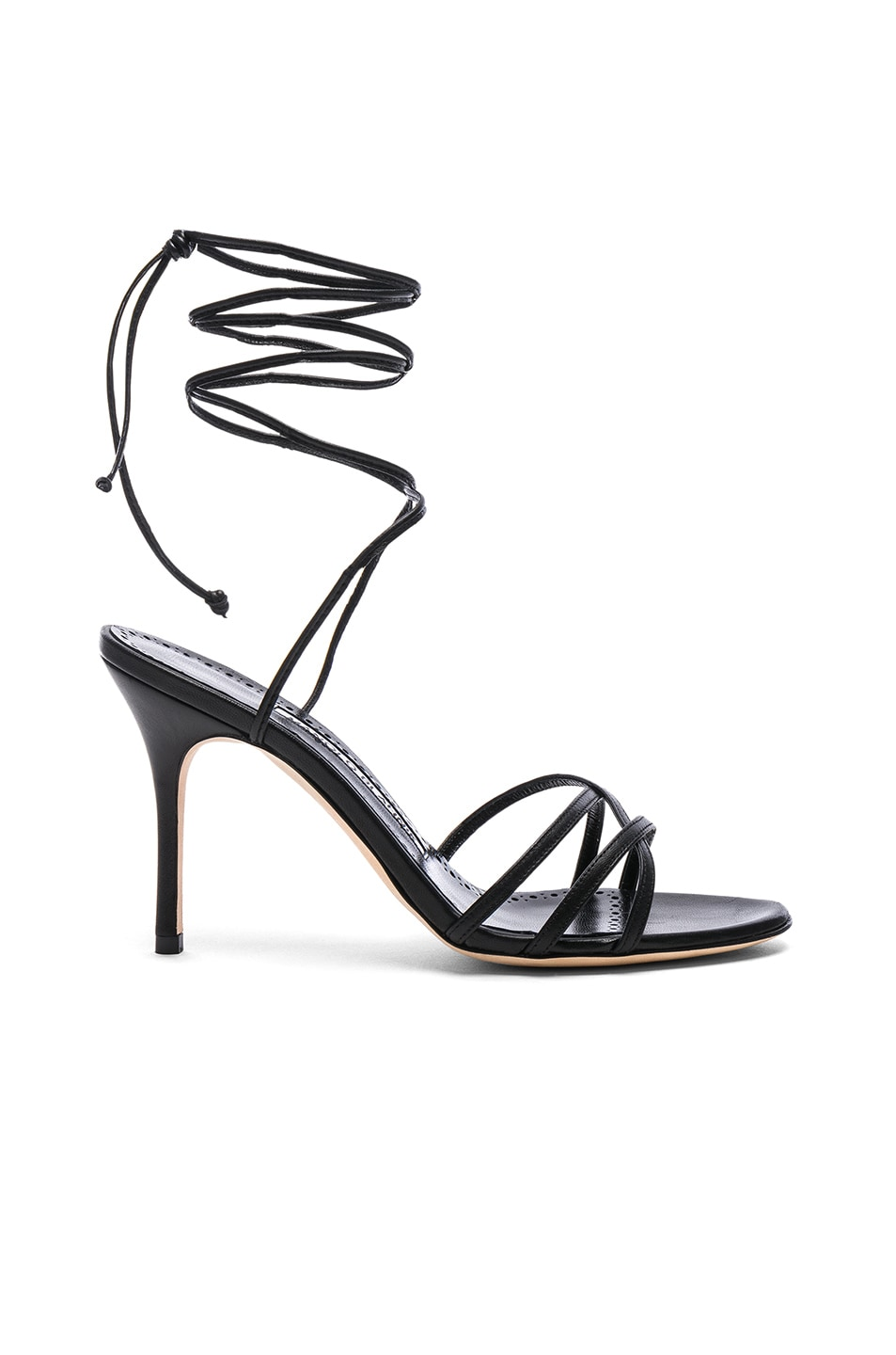Image 1 of Manolo Blahnik Leather Leva 90 Sandals in Black Nappa