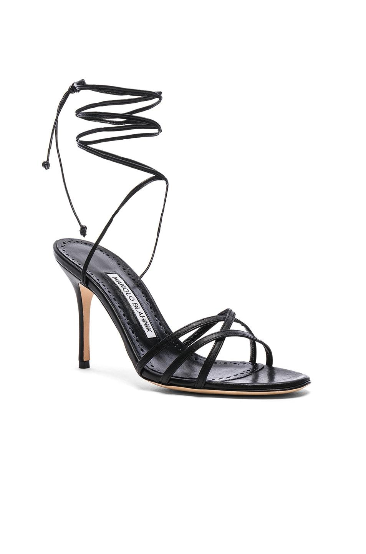 Image 2 of Manolo Blahnik Leather Leva 90 Sandals in Black Nappa
