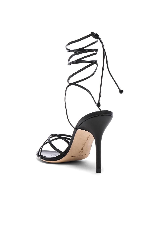 Image 3 of Manolo Blahnik Leather Leva 90 Sandals in Black Nappa