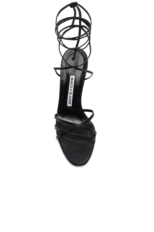 Image 4 of Manolo Blahnik Leather Leva 90 Sandals in Black Nappa