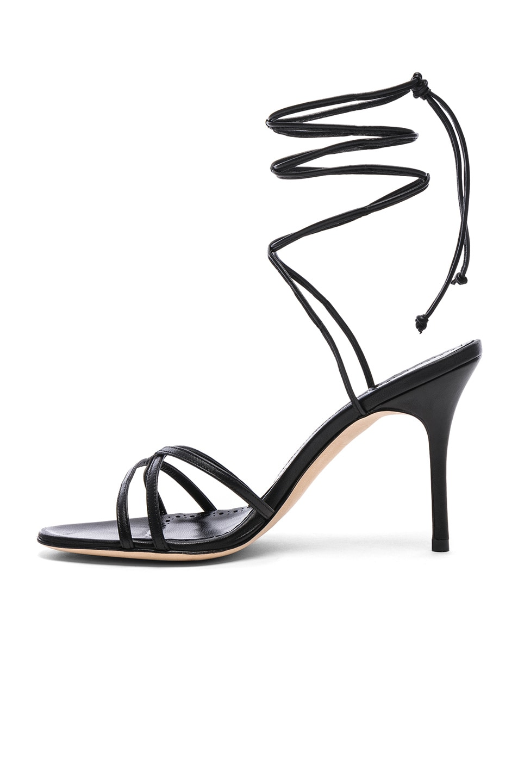 Image 5 of Manolo Blahnik Leather Leva 90 Sandals in Black Nappa