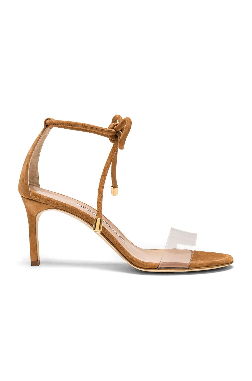 Image 1 of Manolo Blahnik PVC & Suede Estro 70 Sandals in Camel Suede
