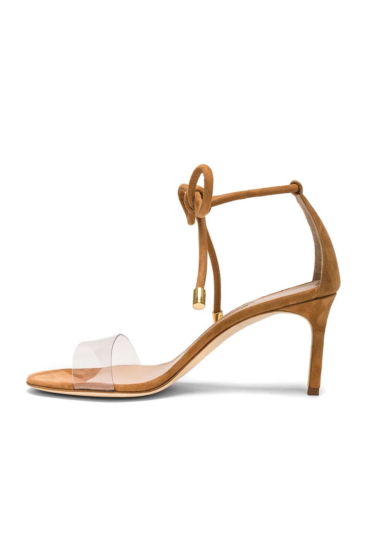 Manolo Blahnik PVC & Suede Estro 70 Sandals in Neutrals. 05hWk6DXWb