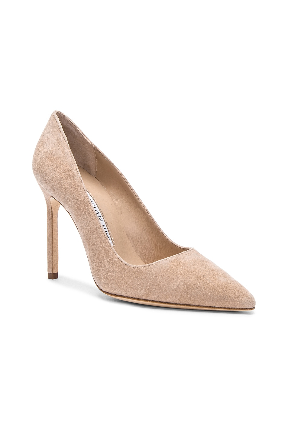 Image 2 of Manolo Blahnik BB 105 Suede Pumps in Nude Suede