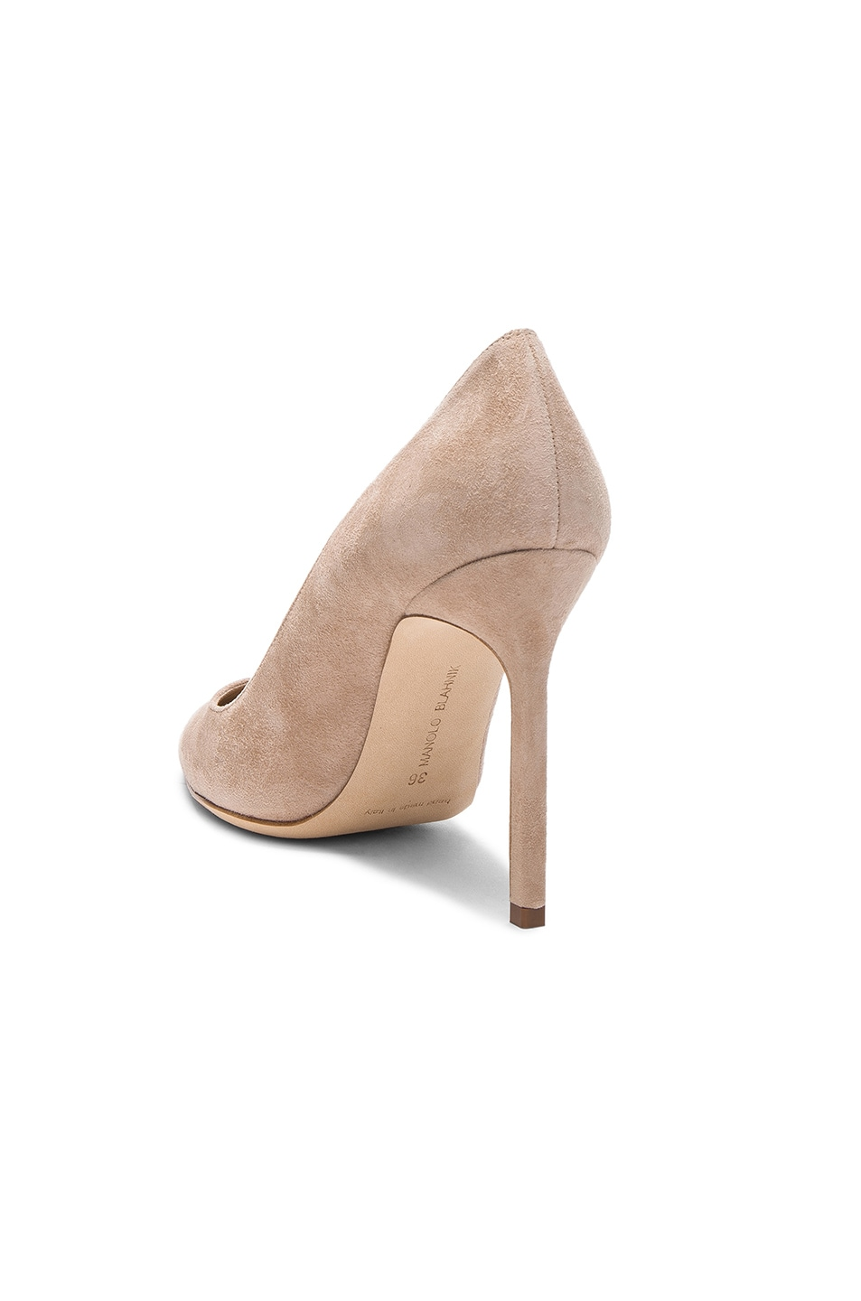 Image 3 of Manolo Blahnik BB 105 Suede Pumps in Nude Suede