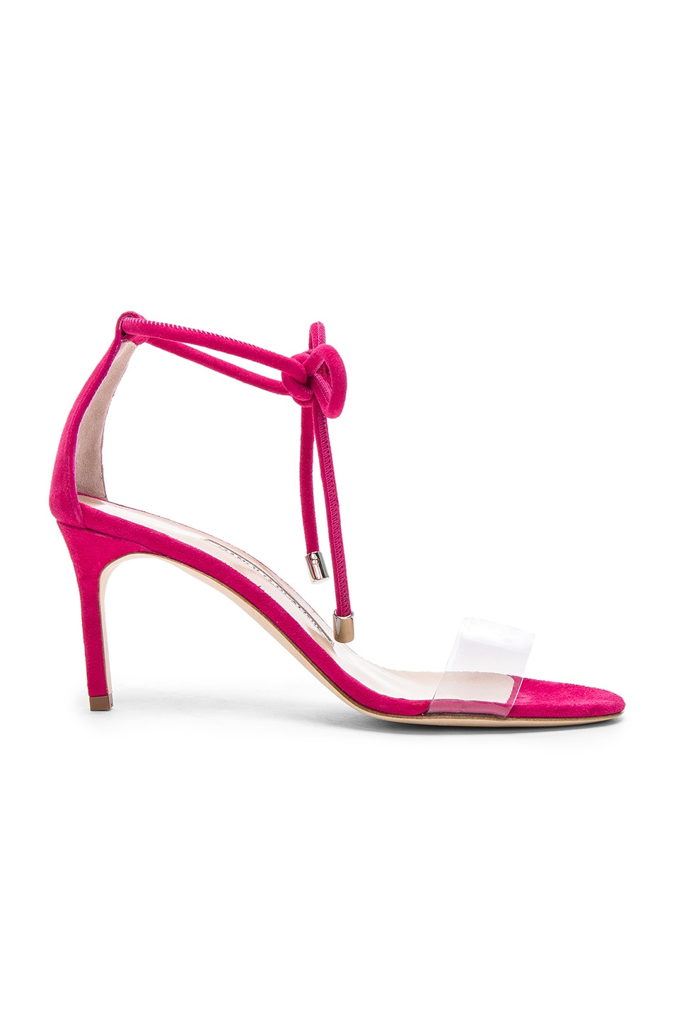 Image 1 of Manolo Blahnik Suede Estro 70 Sandals in Fuxia Suede