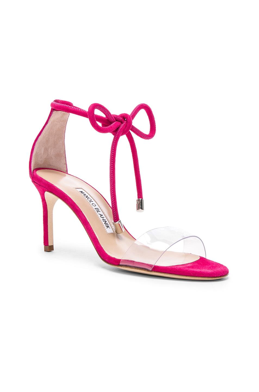 Image 2 of Manolo Blahnik Suede Estro 70 Sandals in Fuxia Suede