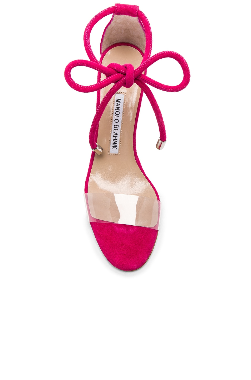 Image 4 of Manolo Blahnik Suede Estro 70 Sandals in Fuxia Suede