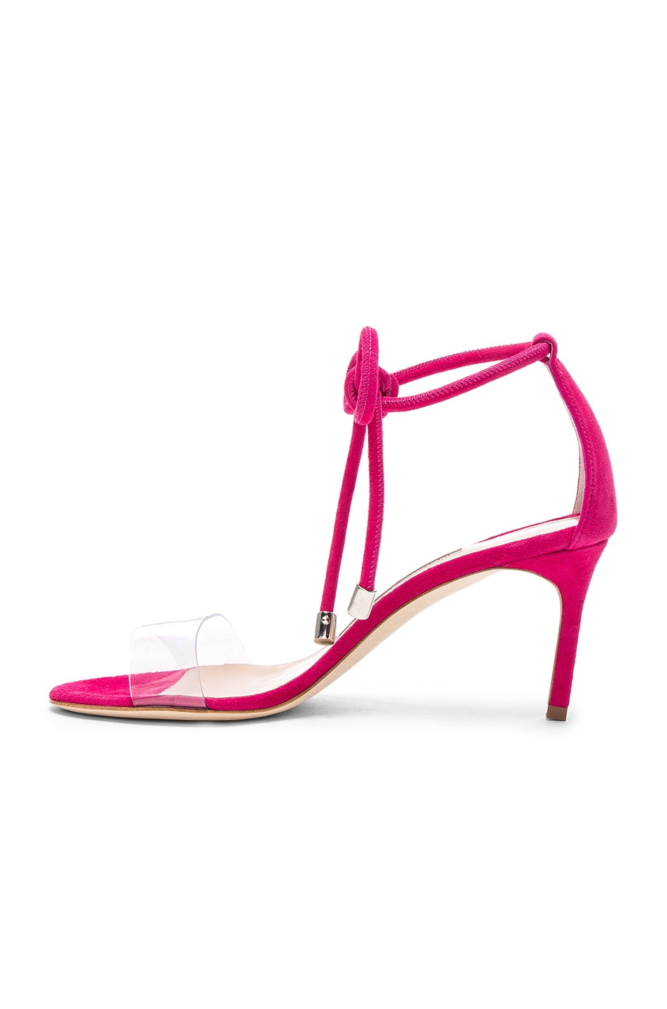Image 5 of Manolo Blahnik Suede Estro 70 Sandals in Fuxia Suede