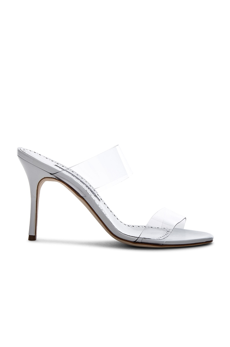 Image 1 of Manolo Blahnik PVC Scolto Sandals in White Leather