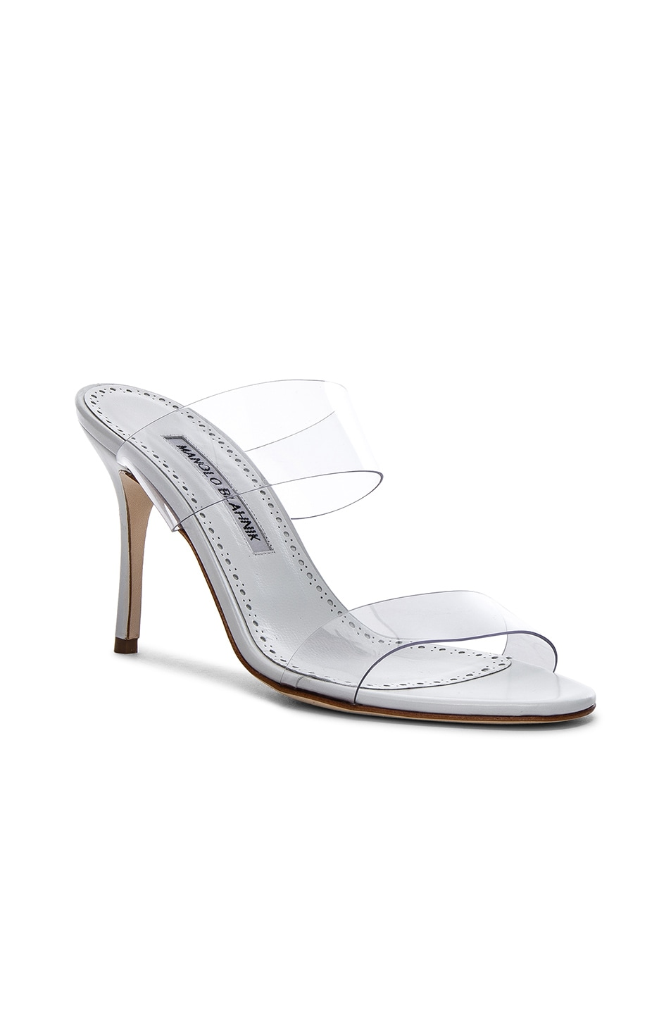 Image 2 of Manolo Blahnik PVC Scolto Sandals in White Leather