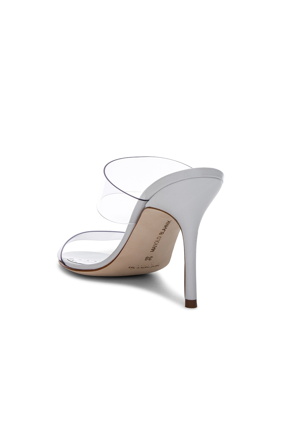 Image 3 of Manolo Blahnik PVC Scolto Sandals in White Leather