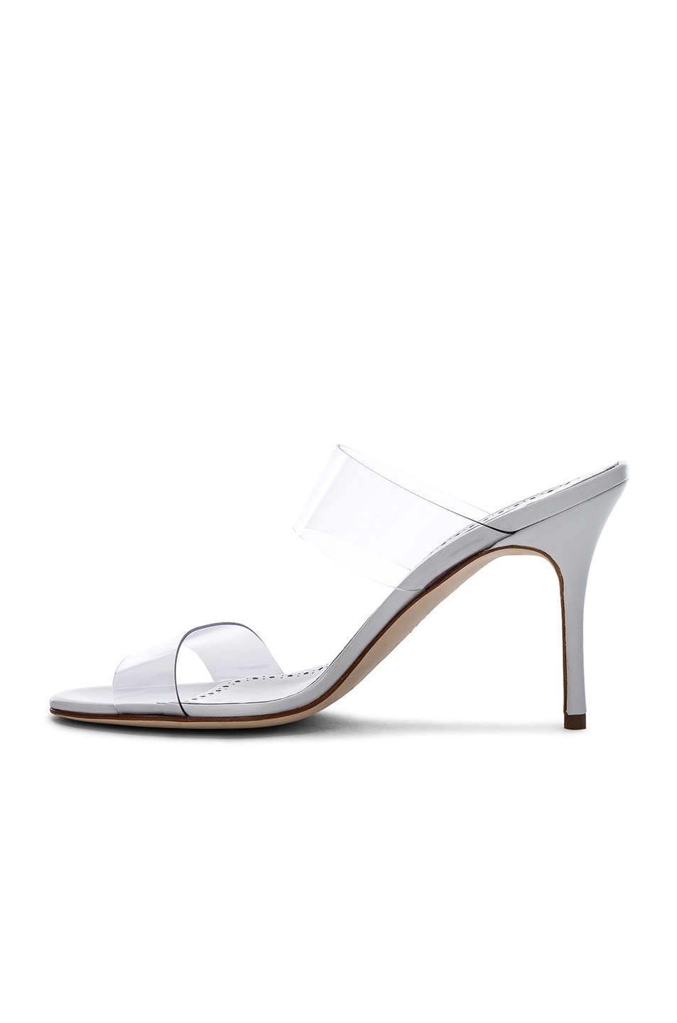 Image 5 of Manolo Blahnik PVC Scolto Sandals in White Leather