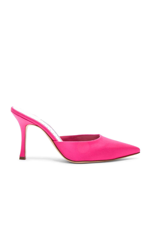 Image 1 of Manolo Blahnik Satin Arriga Mules in Barbie Pink Satin