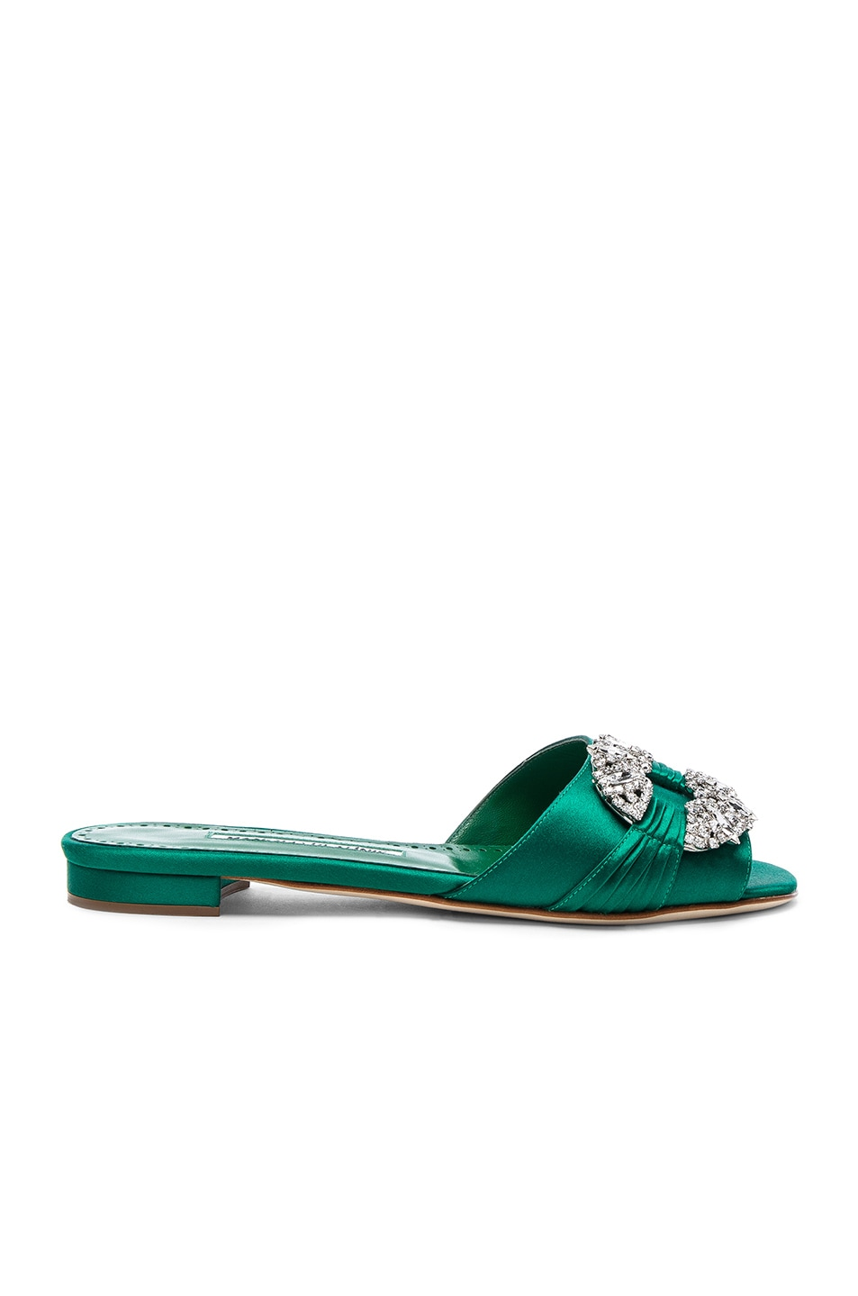 Image 1 of Manolo Blahnik Satin Pralina Slides in Green Satin