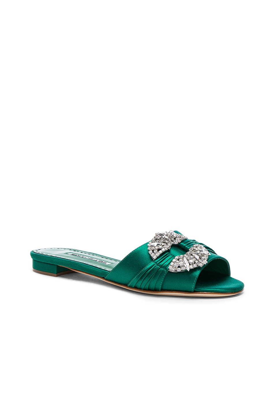 Image 2 of Manolo Blahnik Satin Pralina Slides in Green Satin