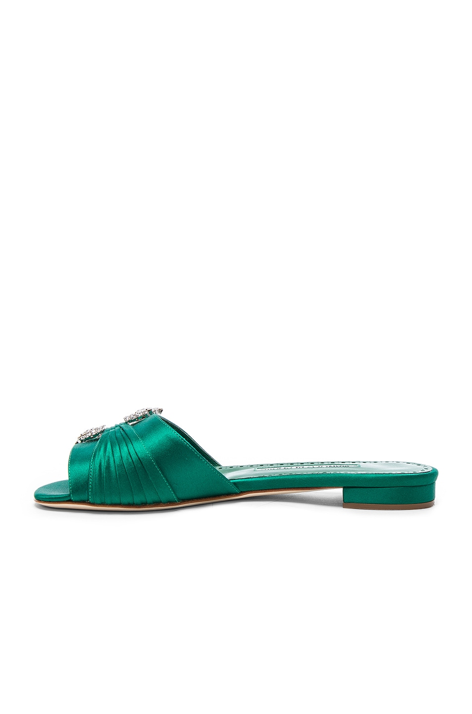 Image 5 of Manolo Blahnik Satin Pralina Slides in Green Satin