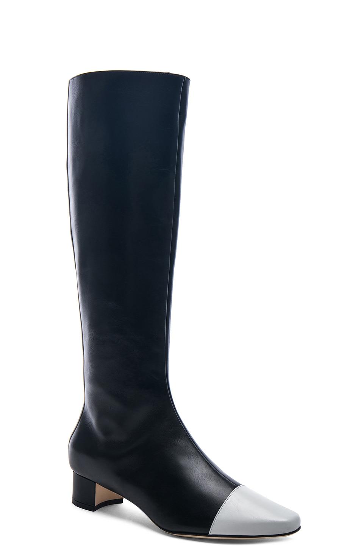 Image 2 of Manolo Blahnik Leather Wakia 30 Boot in Black & White