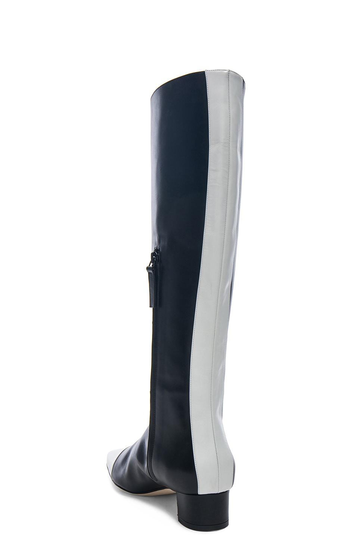Image 3 of Manolo Blahnik Leather Wakia 30 Boot in Black & White
