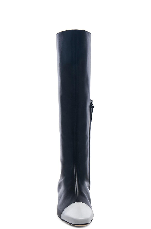 Image 4 of Manolo Blahnik Leather Wakia 30 Boot in Black & White