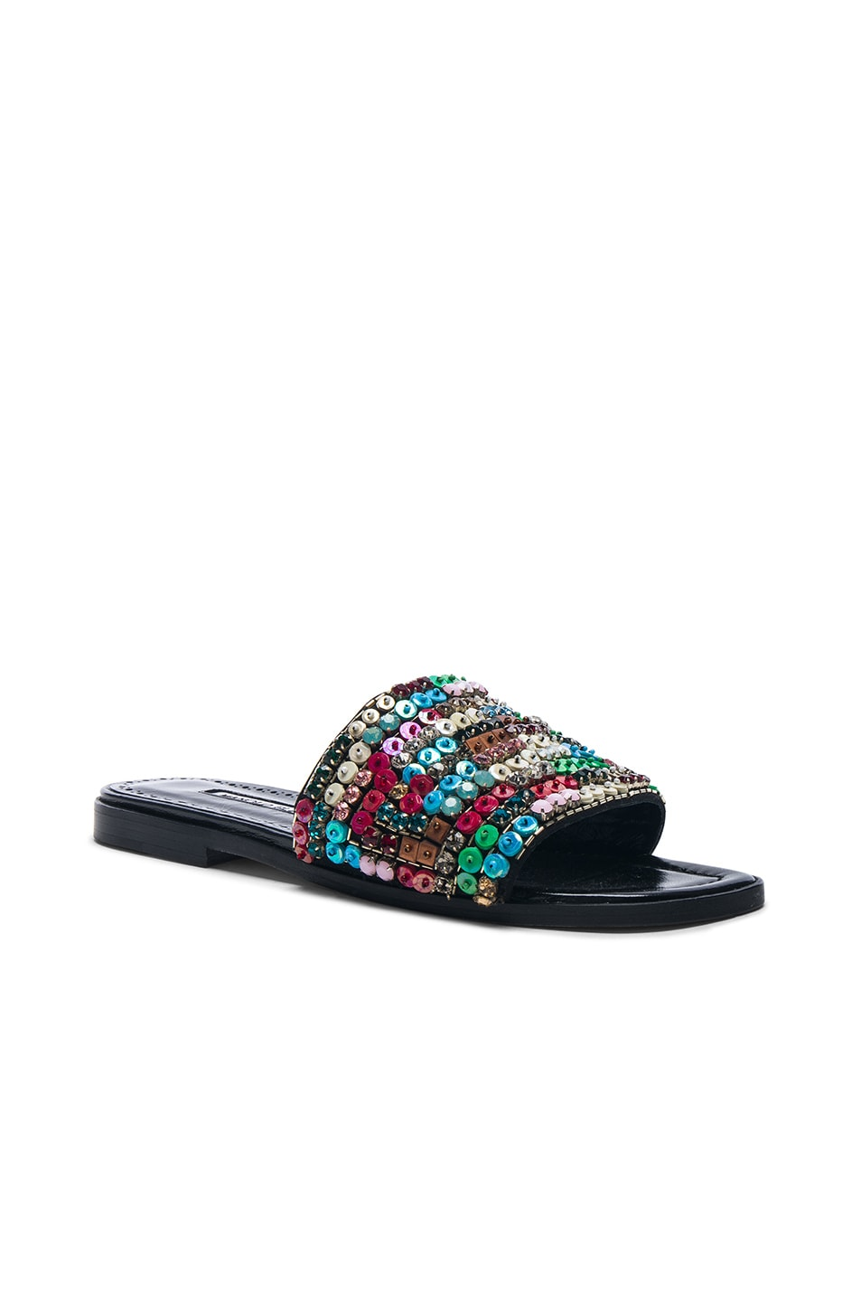 Image 2 of Manolo Blahnik Gioiosa Slide in Black & Multi