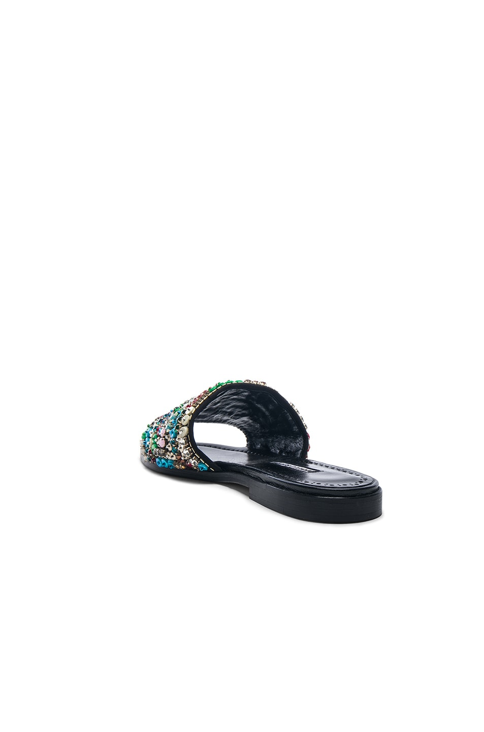Image 3 of Manolo Blahnik Gioiosa Slide in Black & Multi