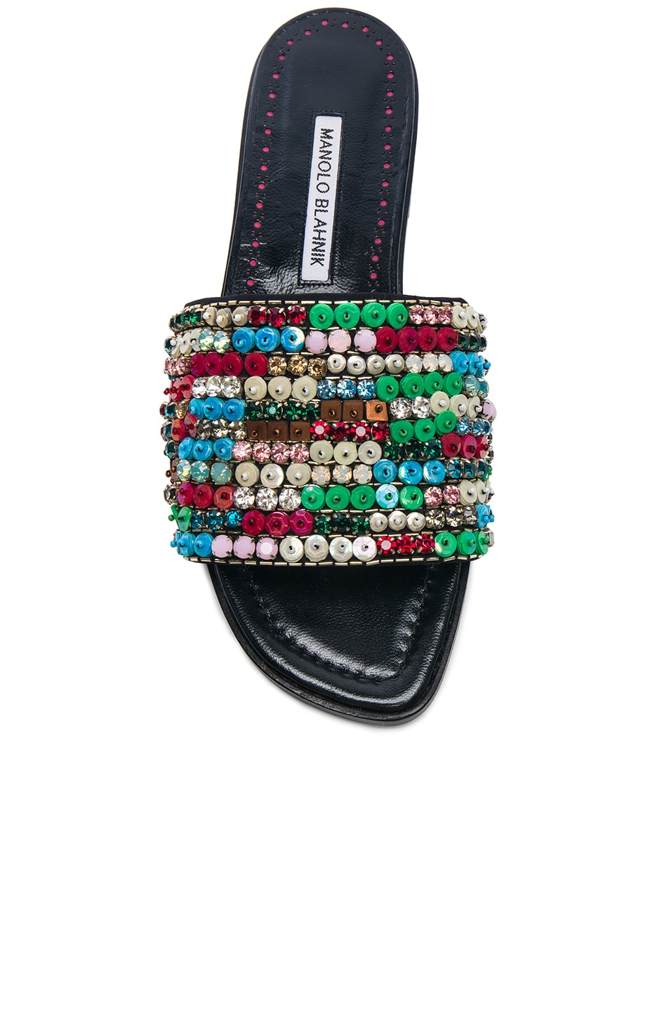 Image 4 of Manolo Blahnik Gioiosa Slide in Black & Multi