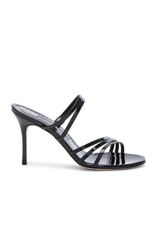 Image 1 of Manolo Blahnik Andena 90 Sandal in Black Patent