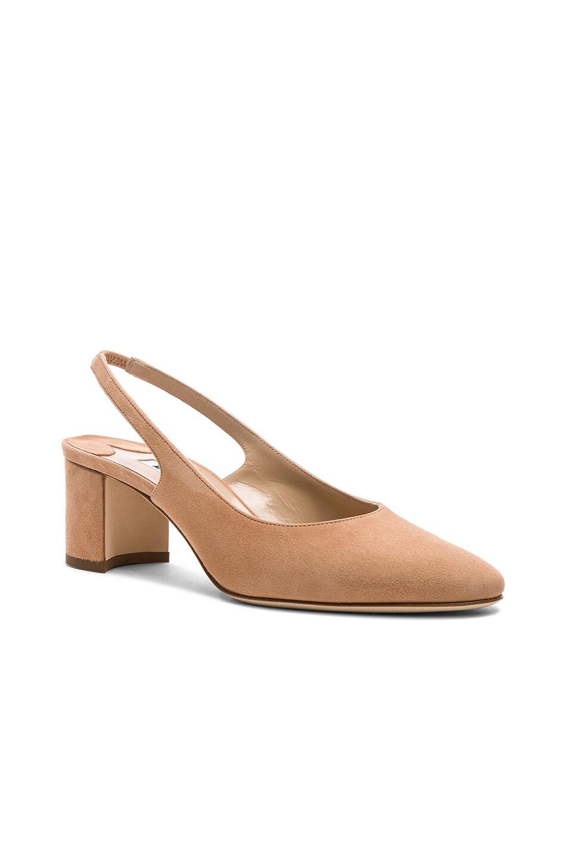 Image 2 of Manolo Blahnik Suede Allurasa 50 Heels in Beige Suede