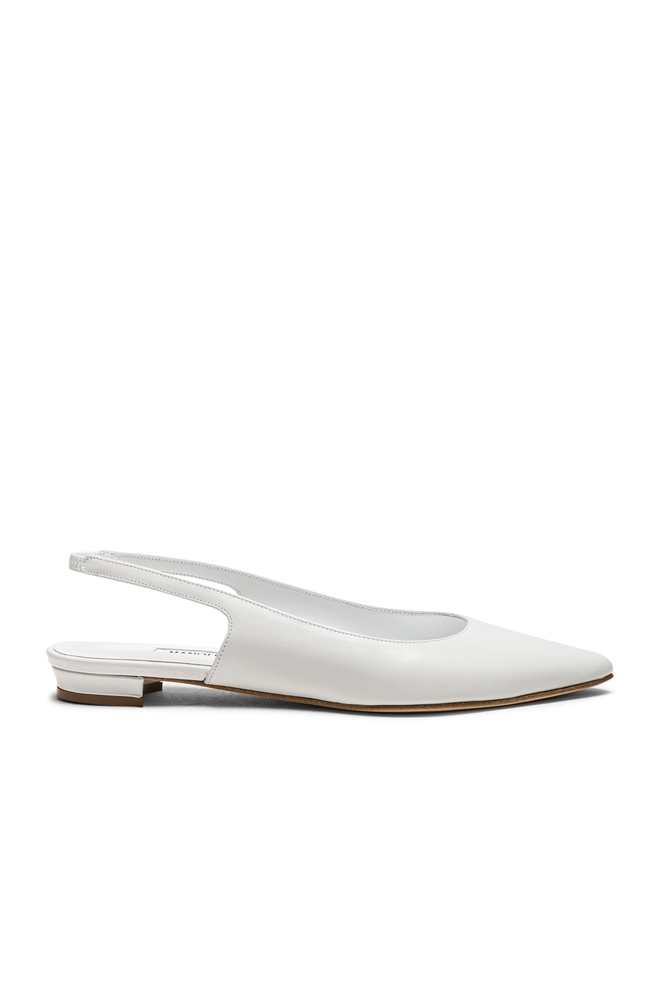 Image 1 of Manolo Blahnik Leather Allura Flats in White Calf