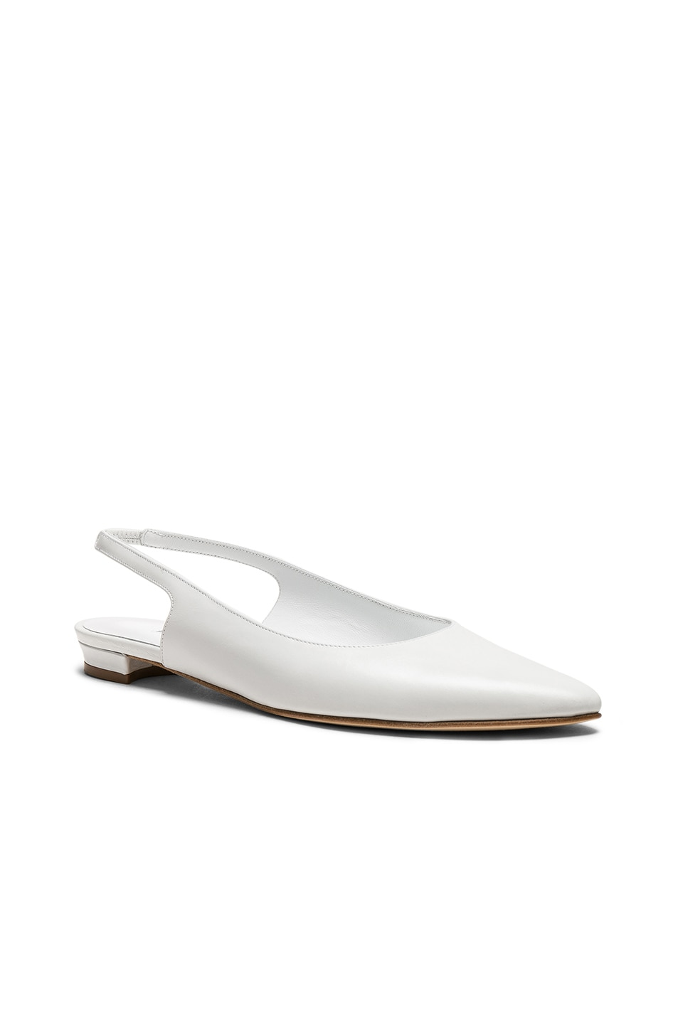 Image 2 of Manolo Blahnik Leather Allura Flats in White Calf