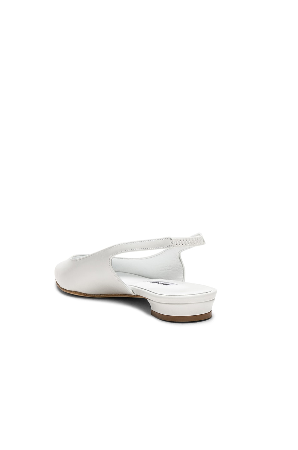 Image 3 of Manolo Blahnik Leather Allura Flats in White Calf