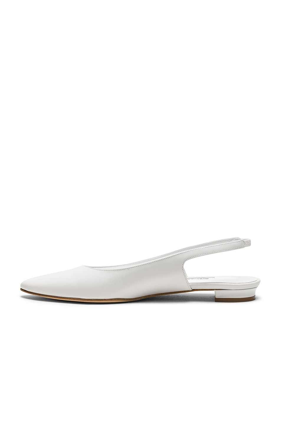 Image 5 of Manolo Blahnik Leather Allura Flats in White Calf