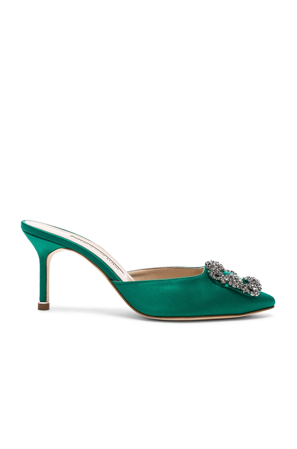 Image 1 of Manolo Blahnik Satin Hangisi 70 Mules in Green Satin