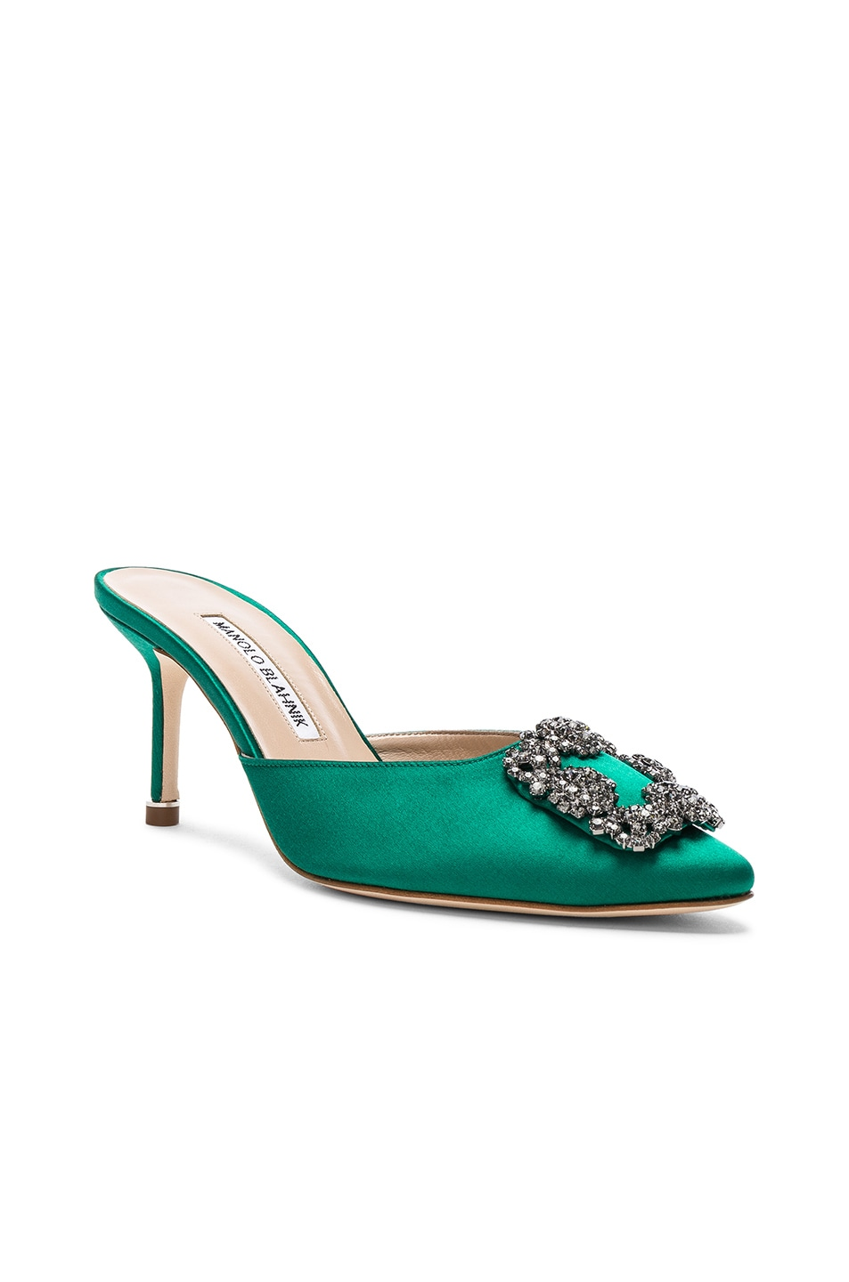 Image 2 of Manolo Blahnik Satin Hangisi 70 Mules in Green Satin
