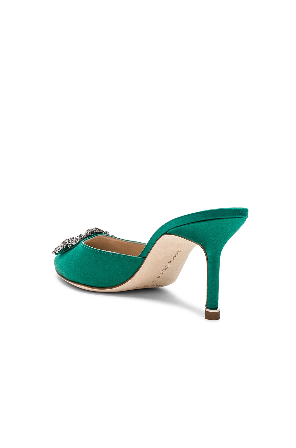 Image 3 of Manolo Blahnik Satin Hangisi 70 Mules in Green Satin