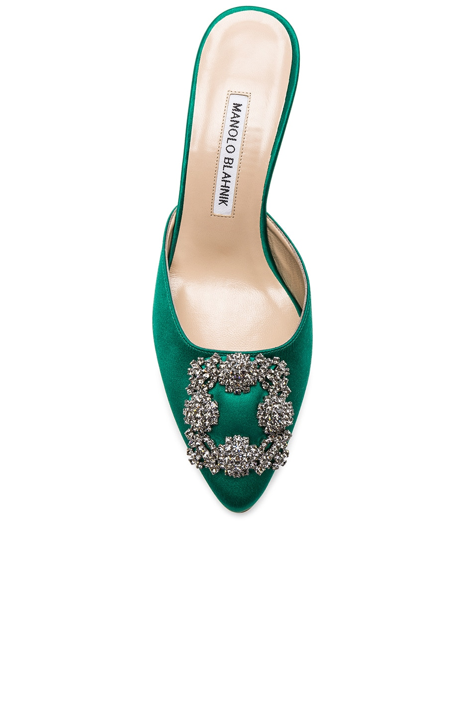 Image 4 of Manolo Blahnik Satin Hangisi 70 Mules in Green Satin