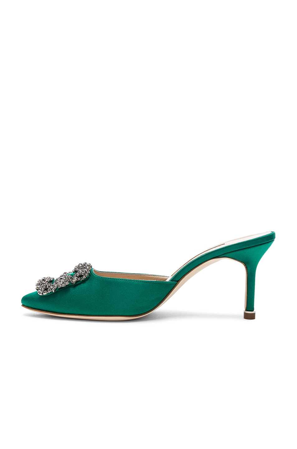 Image 5 of Manolo Blahnik Satin Hangisi 70 Mules in Green Satin
