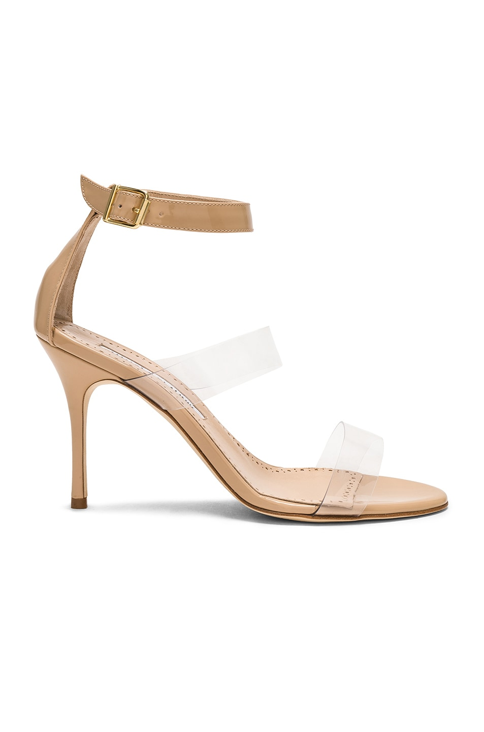 Image 1 of Manolo Blahnik Patent Leather & PVC Kaotic 90 Sandals in Nude Patent & Clear PVC