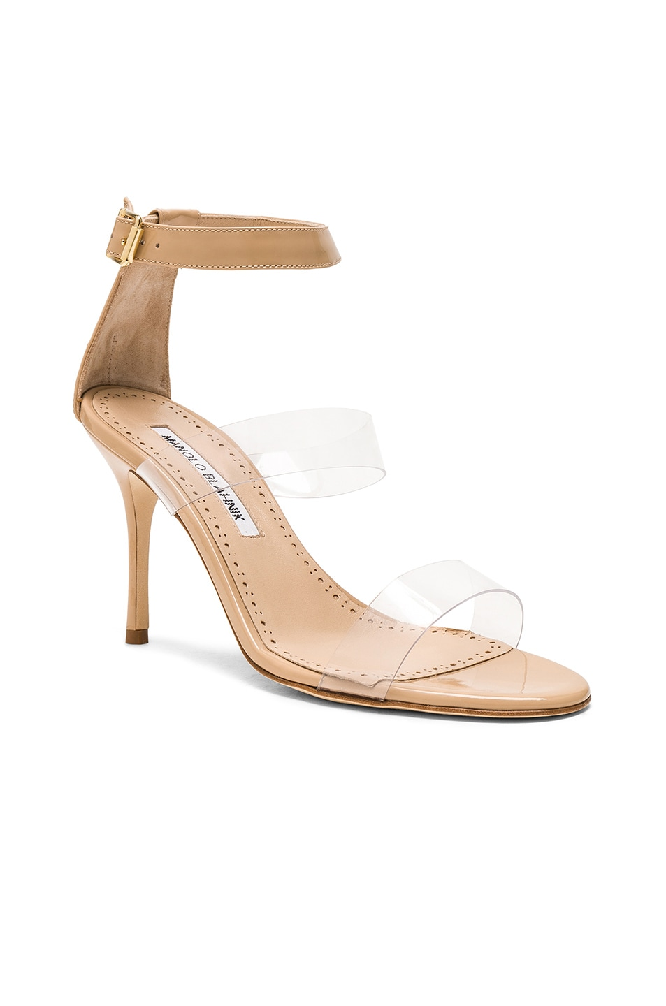 Image 2 of Manolo Blahnik Patent Leather & PVC Kaotic 90 Sandals in Nude Patent & Clear PVC