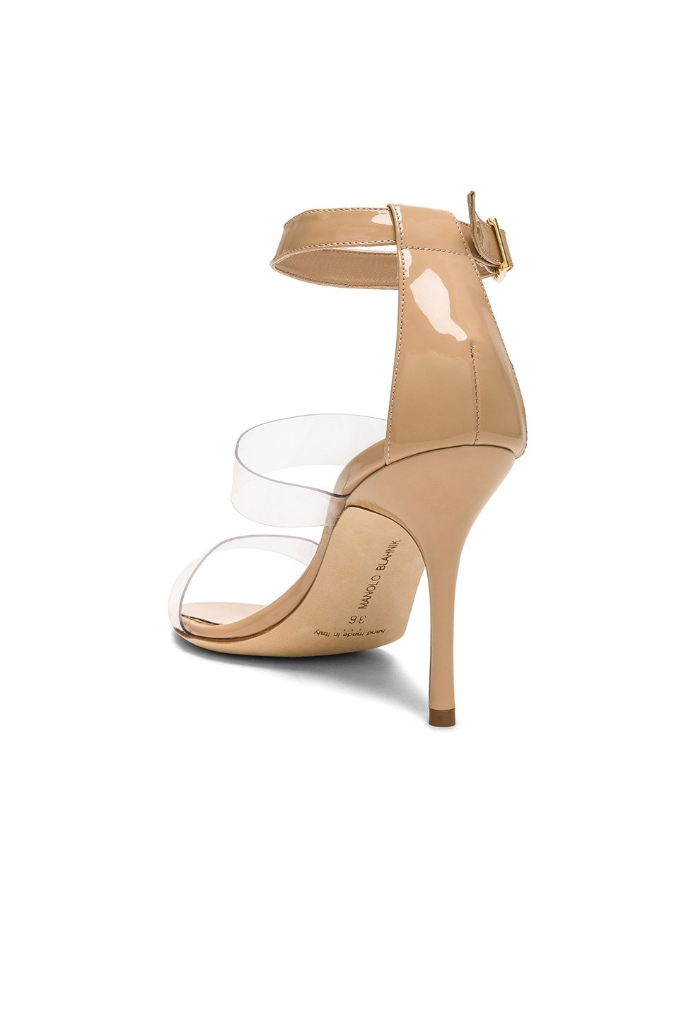 Image 3 of Manolo Blahnik Patent Leather & PVC Kaotic 90 Sandals in Nude Patent & Clear PVC