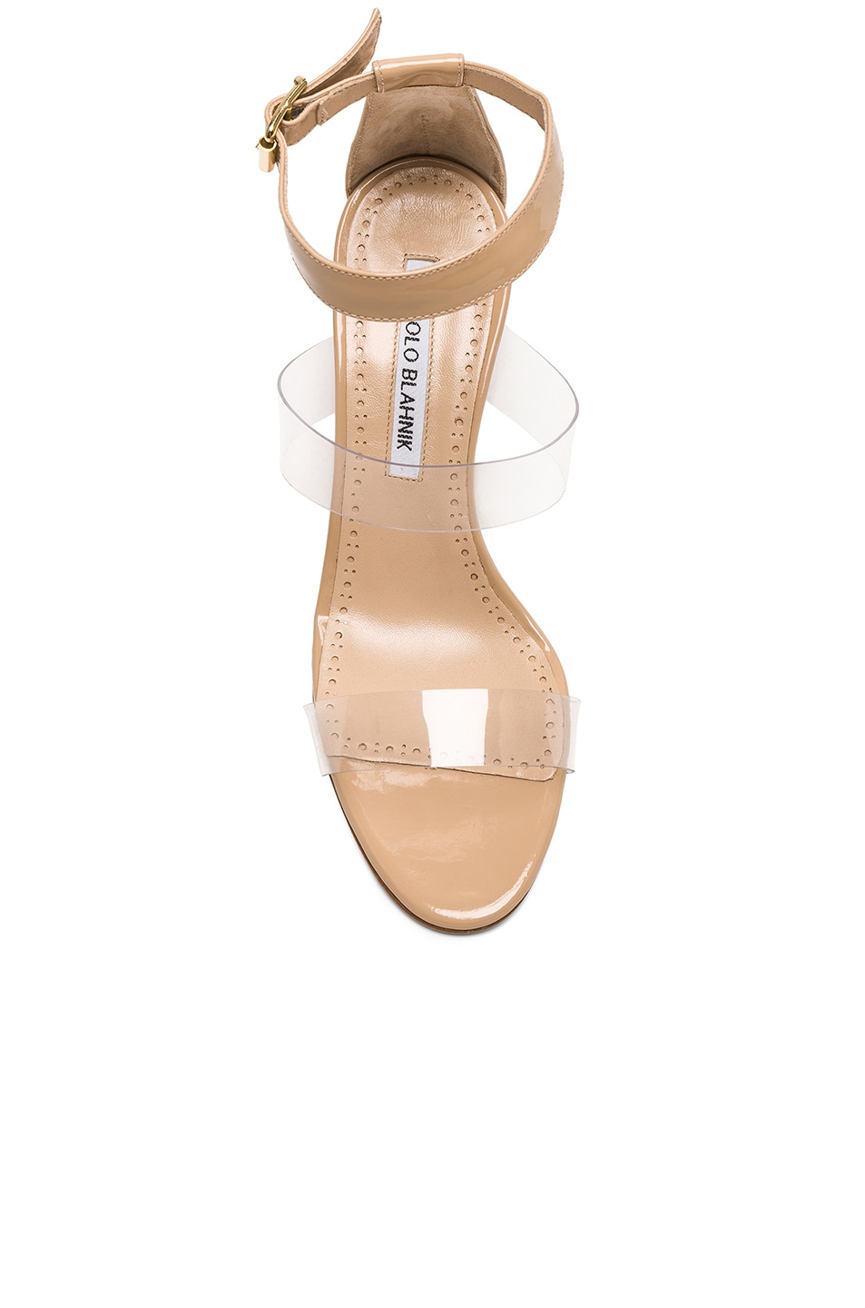 Image 4 of Manolo Blahnik Patent Leather & PVC Kaotic 90 Sandals in Nude Patent & Clear PVC
