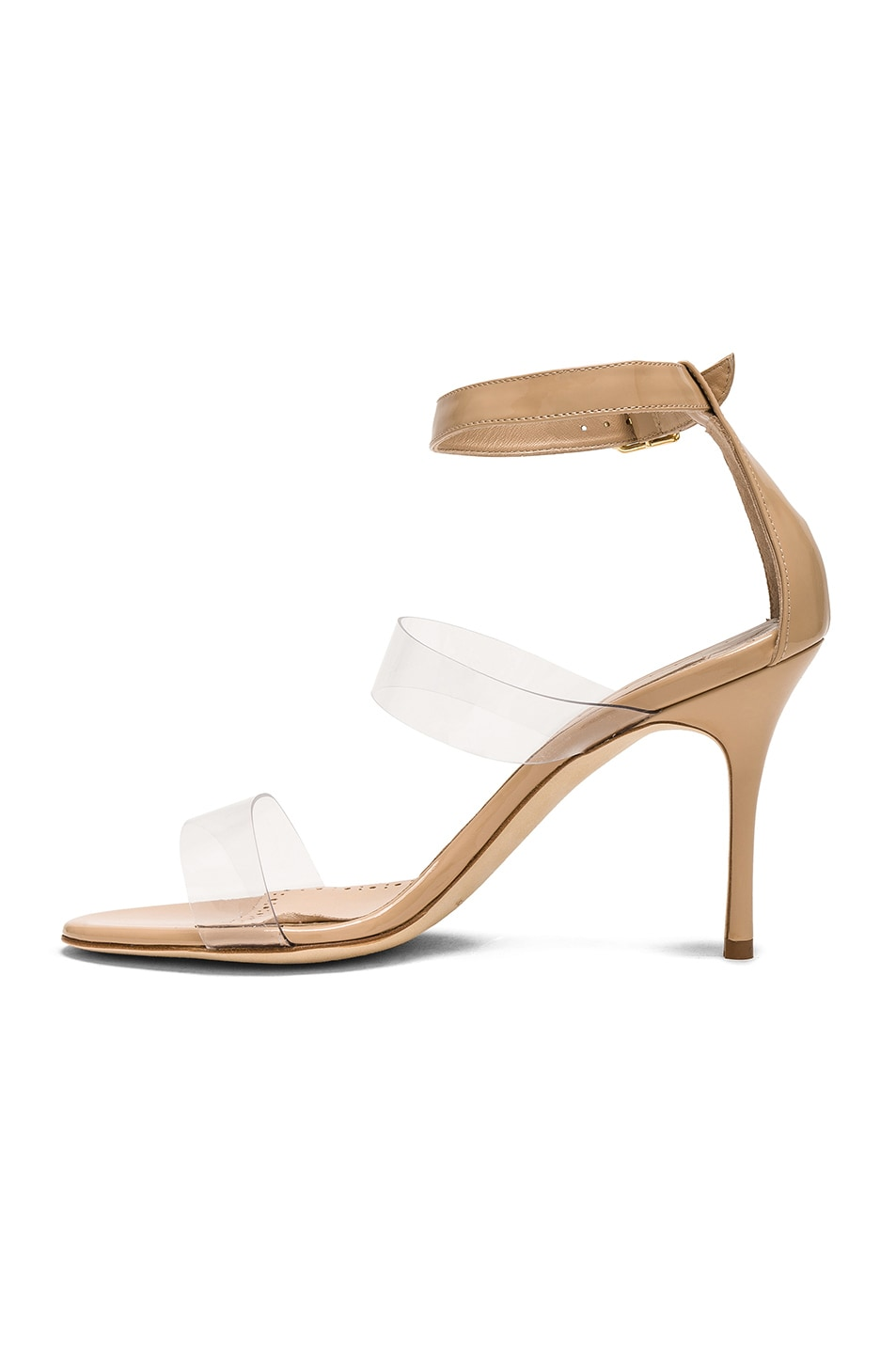 Image 5 of Manolo Blahnik Patent Leather & PVC Kaotic 90 Sandals in Nude Patent & Clear PVC