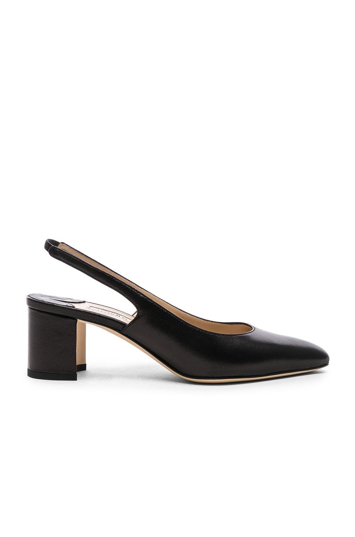 Image 1 of Manolo Blahnik Leather Allurasa 50 Heels in Black Nappa