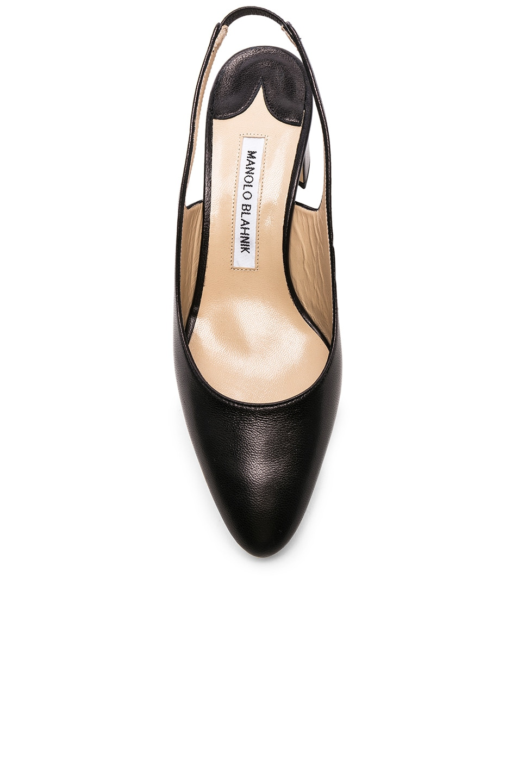 Image 4 of Manolo Blahnik Leather Allurasa 50 Heels in Black Nappa