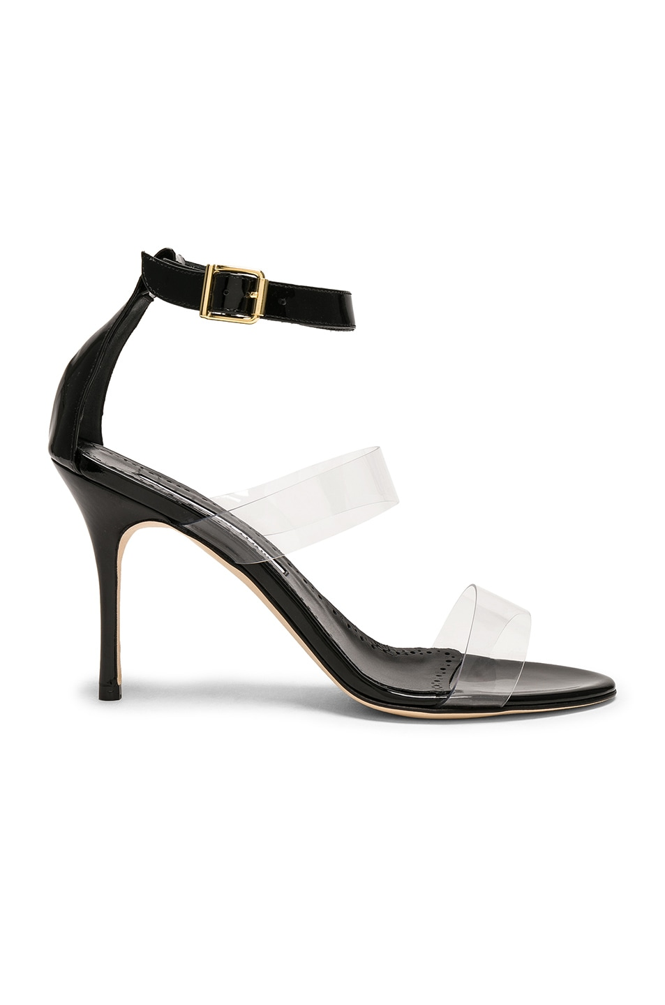 Image 1 of Manolo Blahnik Patent Leather & PVC Kaotic 90 Sandals in Black Patent & Clear PVC