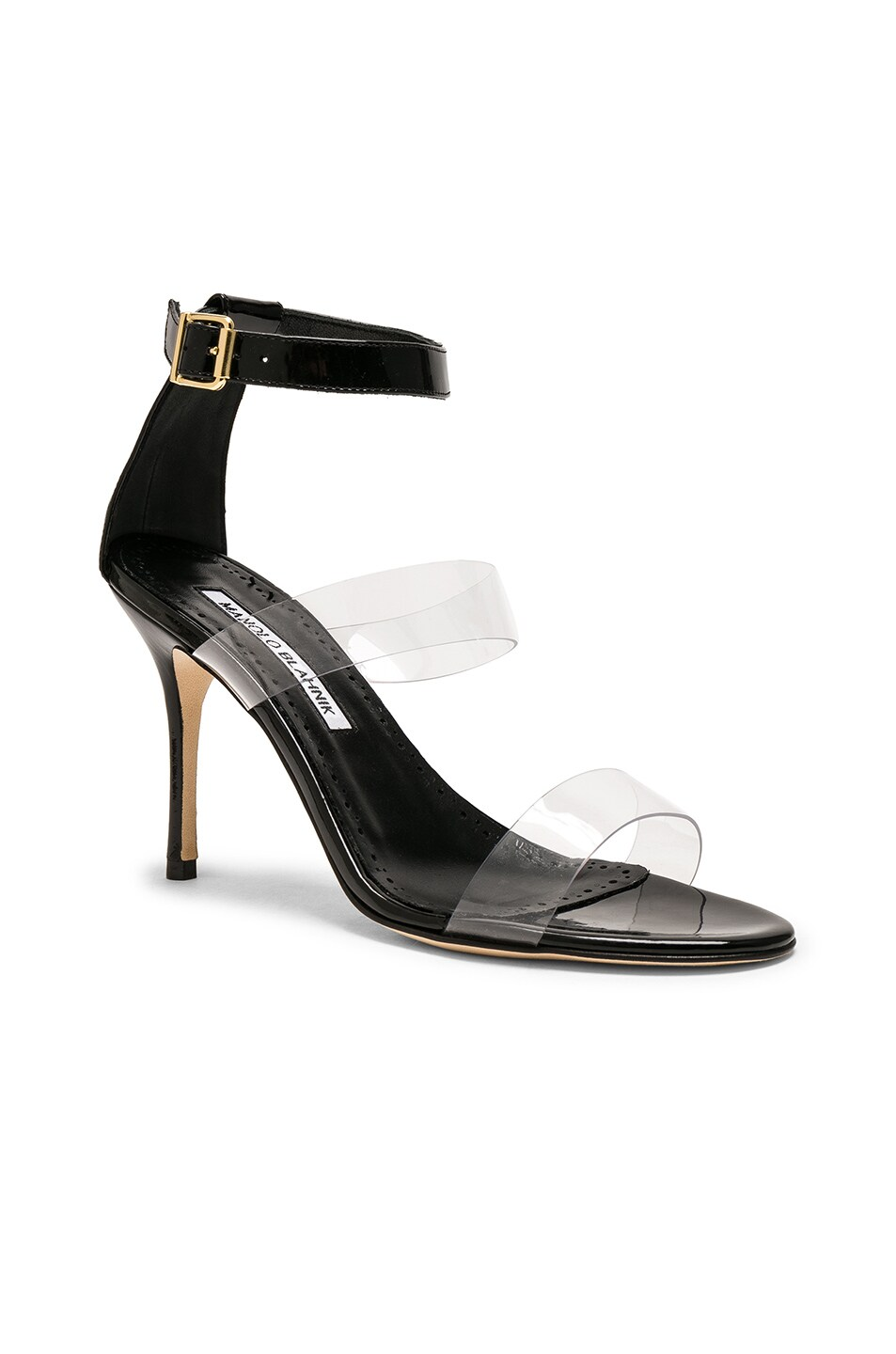Image 2 of Manolo Blahnik Patent Leather & PVC Kaotic 90 Sandals in Black Patent & Clear PVC