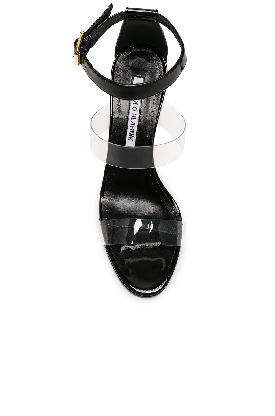 Image 4 of Manolo Blahnik Patent Leather & PVC Kaotic 90 Sandals in Black Patent & Clear PVC